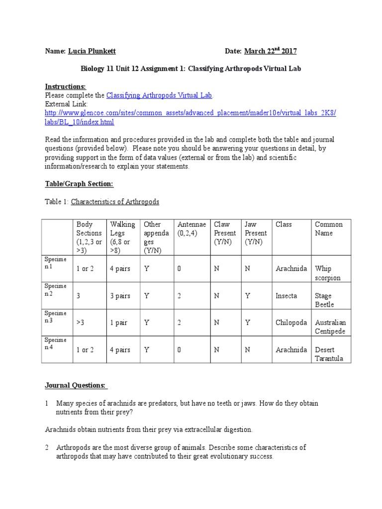 biology 11 unit 12 assignment 1 classifying arthropods virtual lab – Arthropod Worksheet