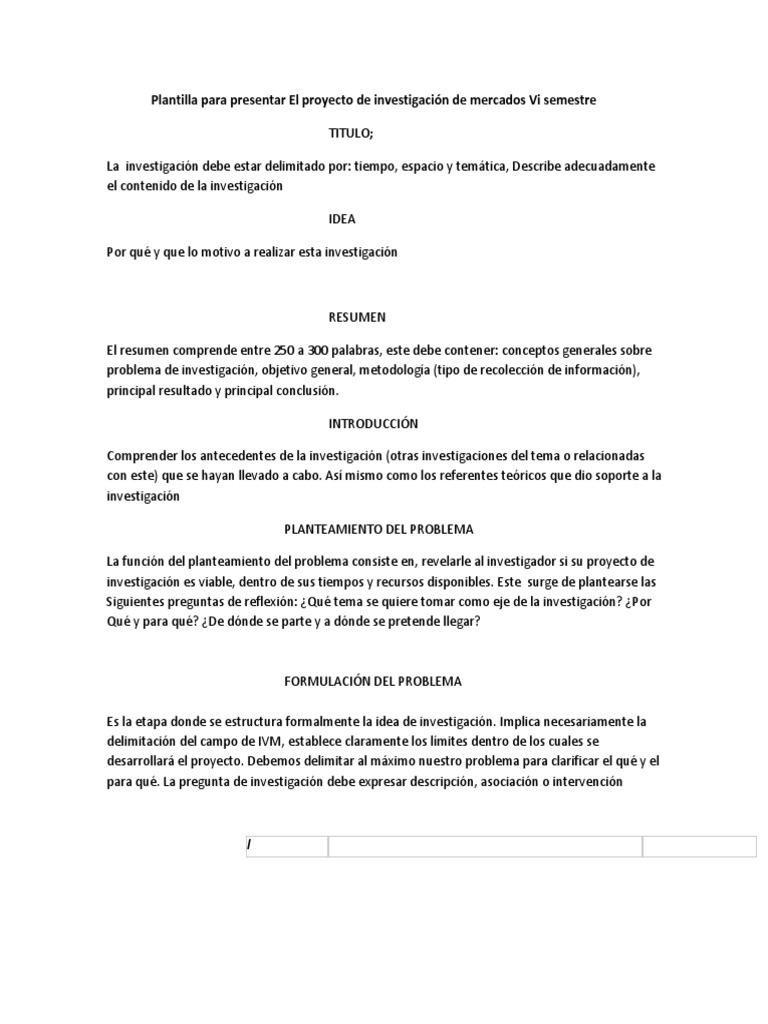 Plantilla Para Presentar El Proyecto de Investigaci%C3%B3n de ...