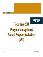 FY18 Annual Program Evaluation (APE) Presentation