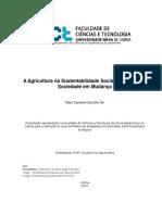 A Agricultura Na Sustentabilidade Social Urbana Numa Sociedade Em Mudanças