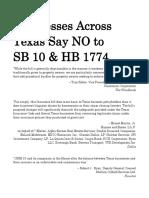 Businesses Across Texas Say NO to SB 10 & HB 1774 (3-23-17)