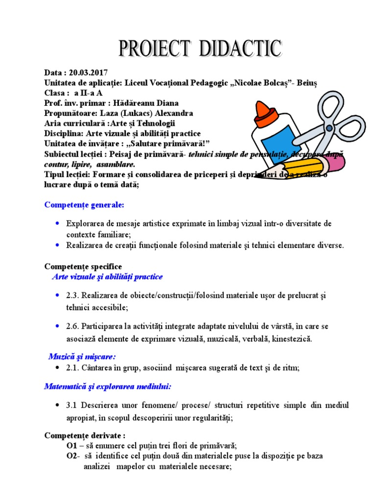Proiect Didactic Avap Clasa A Iia 20032017