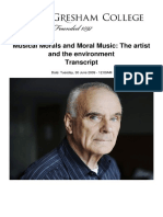 Musical Morals and Moral Music the Artist and the Environment