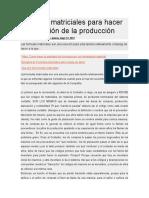 Formulas Matriciales Para Hacer La Explosión de La Producción
