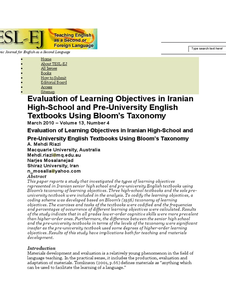 Taxonomy Bloom in Objective   Test (Assessment)   Reading