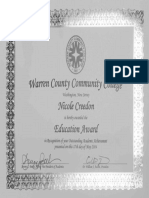 warren county education award certificate