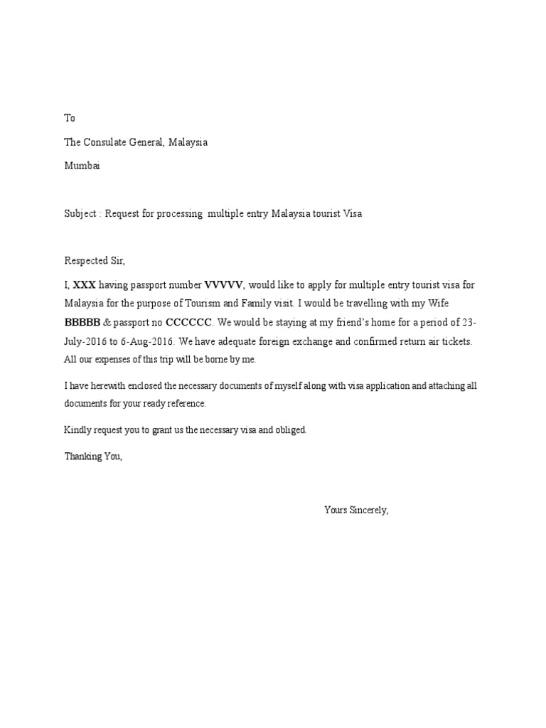 Covering Letter Malaysia Visa