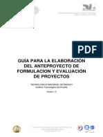 Guía Para La Elaboración Del Anteproyecto de Formulacion y Evaluación de Proyectos