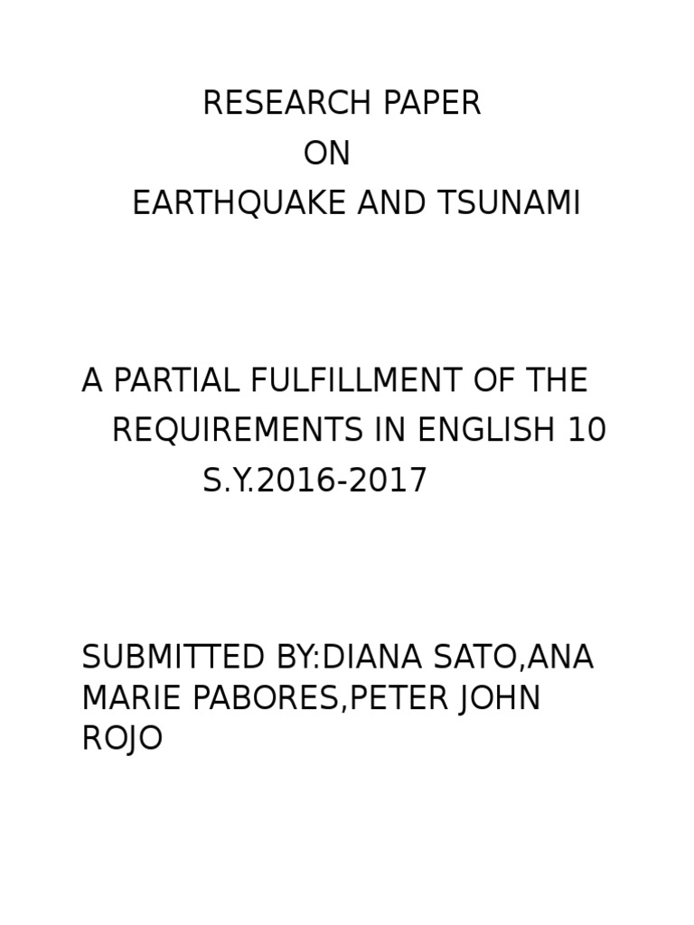 Research paper on earthquakes