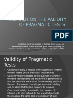 Research on the Validity Pragmatic Tests