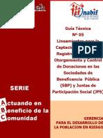 guia5, lineamiento para la captacion, recepcion, registro , aceptacion, otorgamientoy control de donaciones de la sociedades debeneficencias