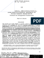 8. Occupational, Organizational and Institutional Models in Mass Media Research