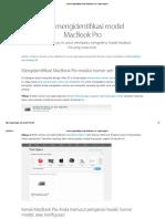 Cara Mengidentifikasi Model MacBook Pro - Apple Support