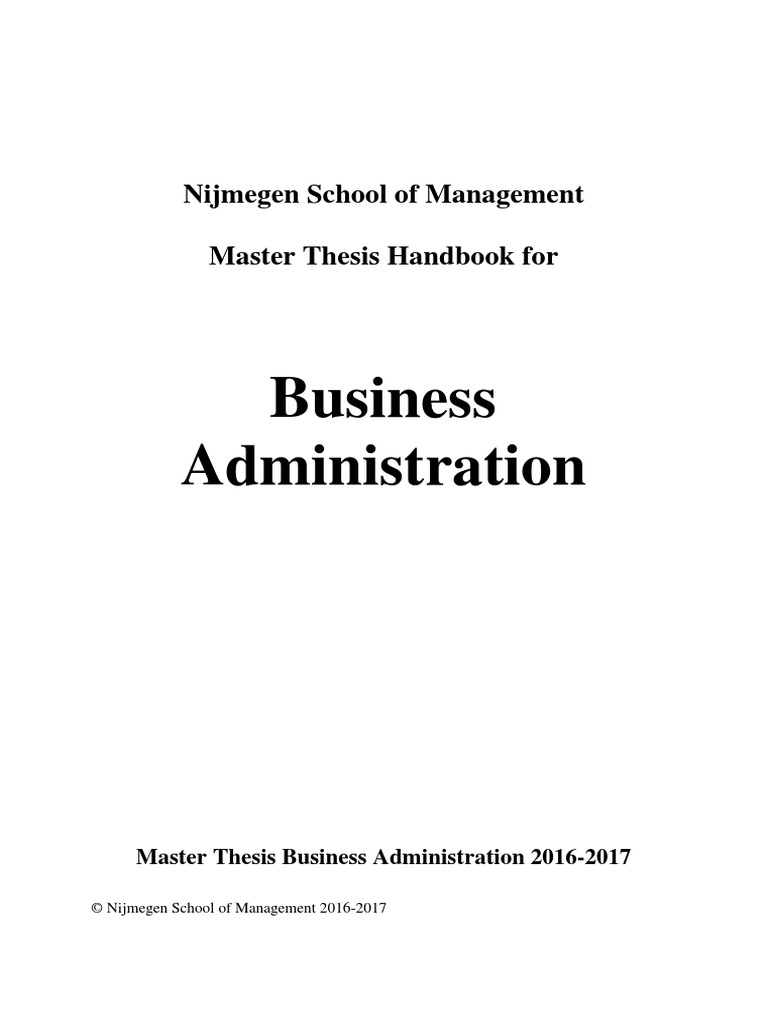 Master business administration thesis
