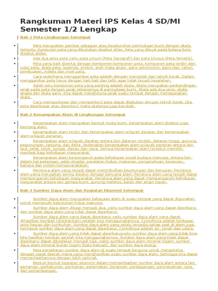 Rangkuman Materi Ips Kelas 4 6 Sd