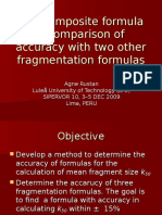 LTU Composite formulaa comparison of accuracy with two other fragmentation formulas