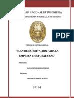 Plan de Exportacion Para La Empresa Cristobal