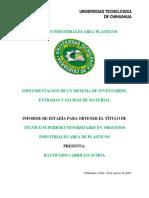 Implementacion de Un Sistema de Inventarios, Entradas y Salidas de Material