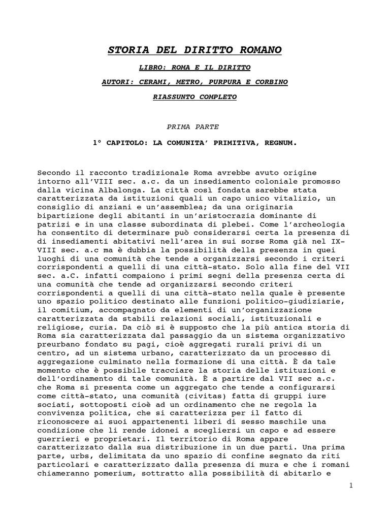 Il Calendario Romano Riassunto.Storia Del Diritto Romano Riassunto Completo Libro Roma E Il
