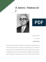 Theodor W. Adorno - Palabras Sin Canciones