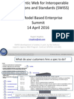 The Semantic Web for Interoperable Specifications and Standards (SWISS) NIST Model Based Enterprise Summit 14 April 2016