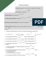 Progresiones Geométricas Ficha