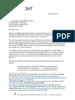 March 24, 2017 - American Oversight Letter to Treasury Regarding Secretary Mnuchin
