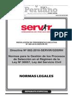 Directiva N° 002-2016-SERVIRGDSRH - Normas para la Gestión de los Procesos de Selección en el Régimen de la Ley N° 30057 Ley del Servicio Civil.pdf