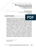Desarrollo de Las Habilidades Metacognitivas Con El Uso de Las Tic