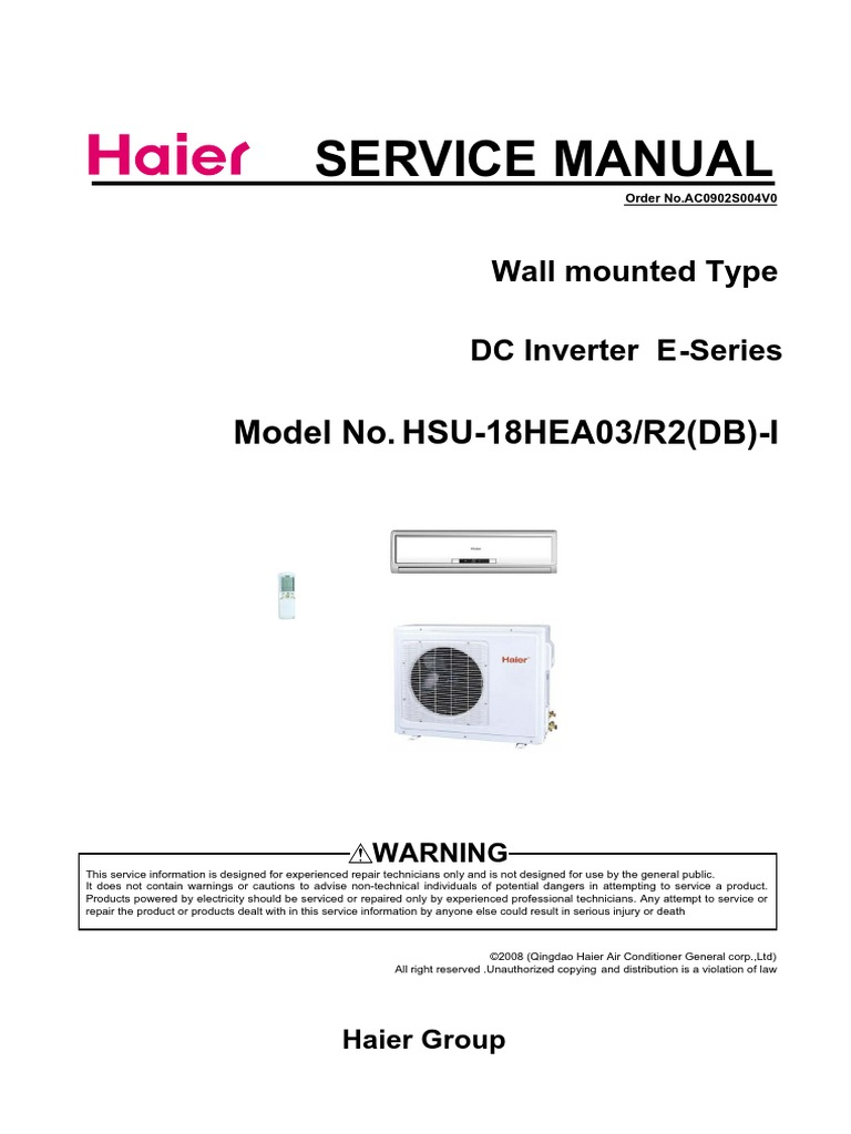 haier hsu18hea03 pdf air conditioning hvac rh es scribd com haier tv service manual download haier service manual download