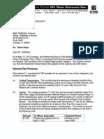 Brent Boyd Denial Letter from Bert Bell/Pete Rozelle Plan May 2010
