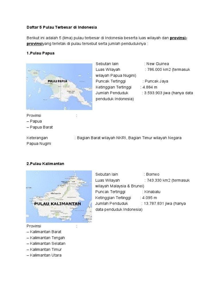 5 Pulau Terbesar Di Indonesia Beserta Budaya Pada Masing Masing Pulau Fix