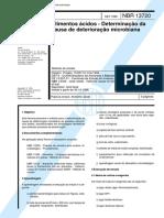 NBR 13720 - Alimentos Acidos - Determinacao Da Causa de Deterioracao Microbiana