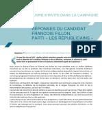 Réponses au SNE  François Fillon
