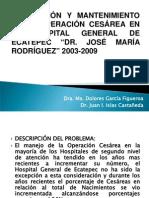 contención de la operación cesarea en el hospital 2006 2009