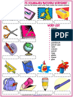 Classroom Objects Vocabulary Esl Matching Exercise Worksheet for Kids