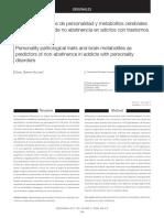 Rasgos patológicos de personalidad y metabolitos cerebrales como predictores de no abstinencia en adictos con trastornos de personalidad