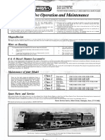 Hornby HR1977 Locomotive Lubrication and Maintenance Chart