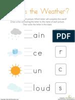 Fill the Blanks Weather Kindergarten