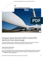 uruguay makes dramatic shift to nearly 95  electricity from clean energy   environment   the guardian