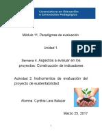 Instrumentos de evaluación del proyecto de sustentabilidad