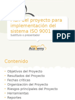 Project Plan for ISO9001 Implementation 9001Academy ES