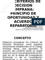 Los Criterios de Decison Temprana-p. Oportunidad y Acuerdo Reparatorio