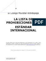 Wada 2015 Prohibited List Esp