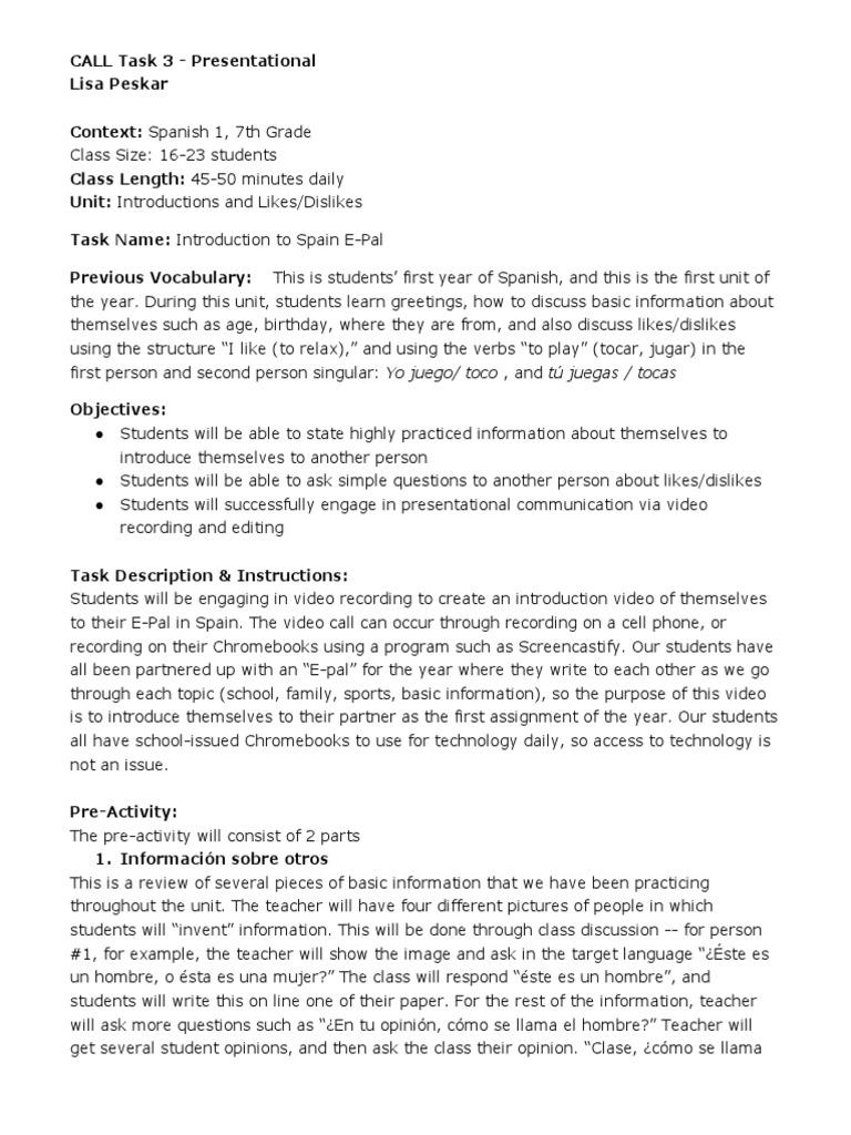 Calltask3 Presentational Second Language Vocabulary