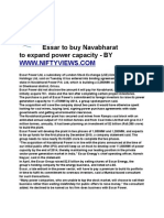 ESSAR TO BUY NAVABHARAT TO EXPAND POWER CAPACITY A VIEW BY WWW.NIFTYVIEWS