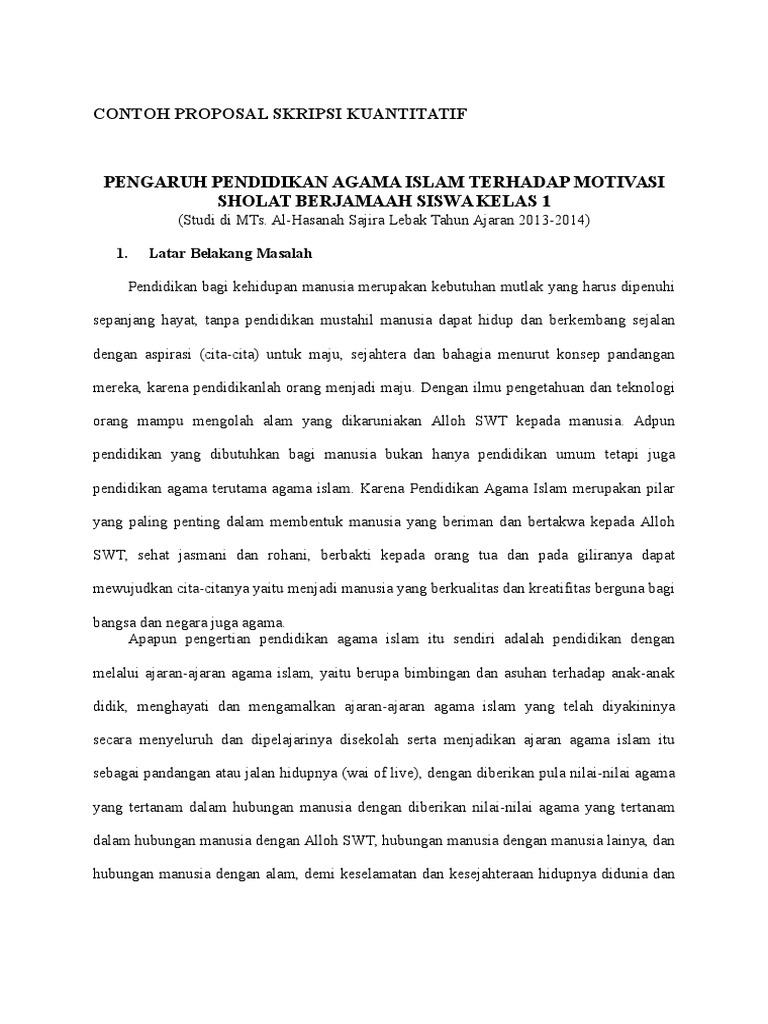 Contoh Proposal Penelitian Kuantitatif Pendidikan Agama Islam