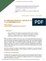 El Análisis Musical, Entre El Formalismo y La Hermenéutica