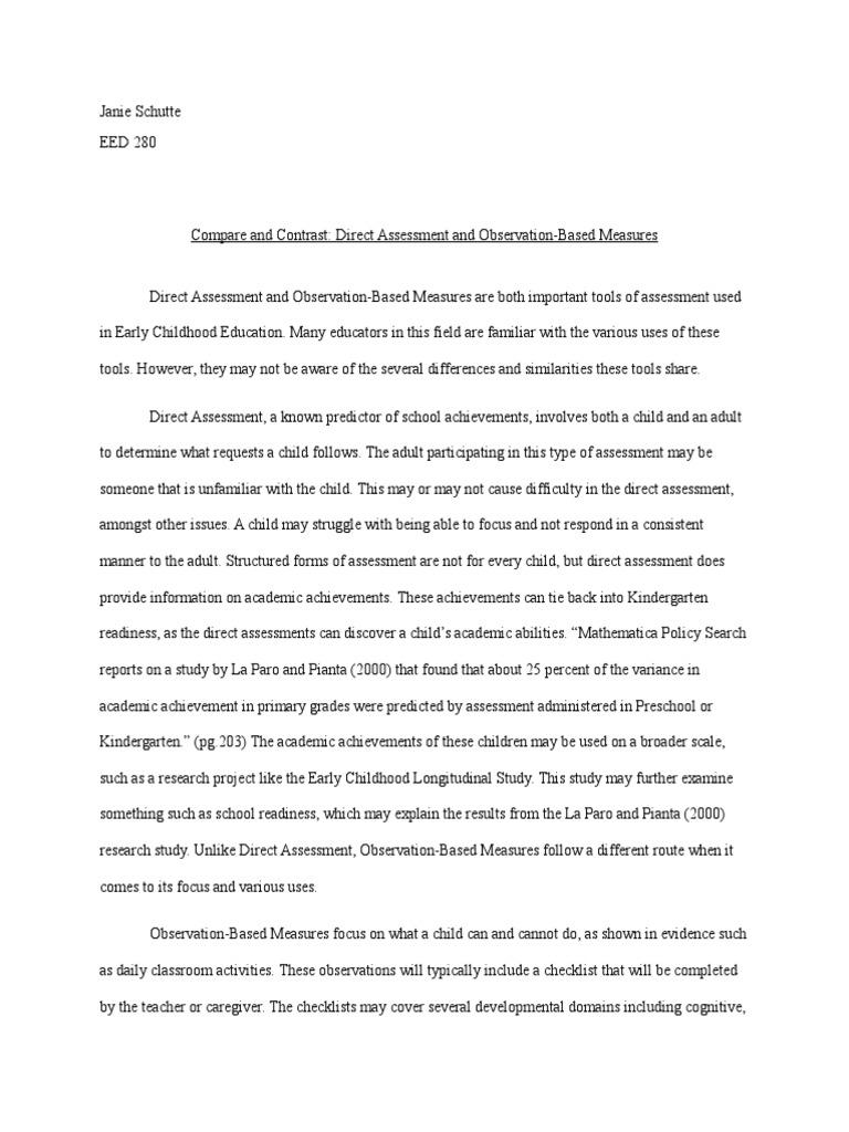 Classroom assessment essay