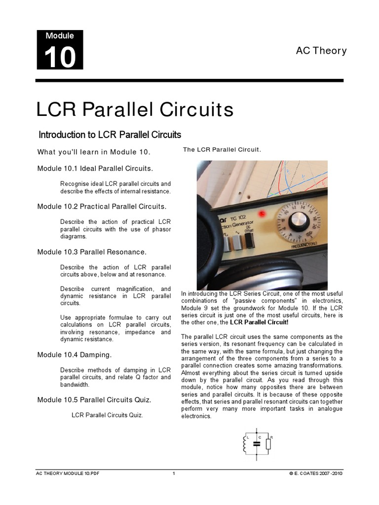 Lcr Parallel Circuits Series And Electrical Ac Circuit Inductance Capacitance In Impedance